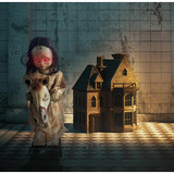 Haunted Hill Farm Premium Life-Size Animatronic Rocking Doll with Light-up Red Eyes, Singing and Talking