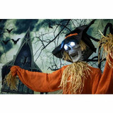 Haunted Hill Farm Life-Size Animatronic Skeleton Scarecrow with Rotating Head