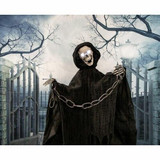 Haunted Hill Farm Life-Size Animated Talking Skeleton Prop w/ Moving Mouth