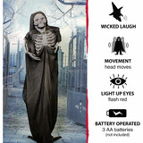 Haunted Hill Farm Life-Size Poseable Animatronic Crypt Keeper Reaper with Light-up Red Eyes