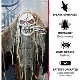 Haunted Hill Farm Life-Size Poseable Animatronic Reaper with Flashing Red Eyes Dante