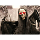 Haunted Hill Farm Life-Size Poseable Animatronic Reaper with Red Flashing Eyes Erepo