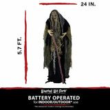 Haunted Hill Farm Life-Size Poseable Animatronic Witch with Light-up White Eyes Voodoo