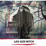 Haunted Hill Farm Life-Size Animatronic Talking Witch Prop w/ Skull and Rotating Body