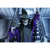 Haunted Hill Farm Life-Size Aimatronic Skeleton Witch Prop w/ 6-Function Multi-Color Lights