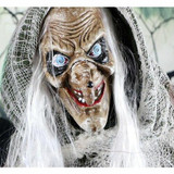 Haunted Hill Farm Life-Size Animatronic Talking Evil Witch with Rotating Head