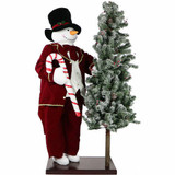 Fraser Hill Farm 60 Life-Size Animated Snowman with 66 Pre-Lit Flocked Christmas Tree On Base