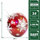 Fraser Hill Farm 18 Jeweled Ball Ornament w/Snowflake Design in Red with Long-Lasting LED Lights, Indoor or Outdoor