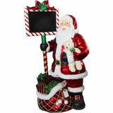 Fraser Hill Farm 5-Ft Resin Santa Holding Chalkboard Sign with LED Lights, Indoor/Covered Outdoor