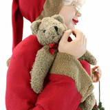 Fraser Hill Farm 5-Ft Life-Size Standing Mrs Claus Holding Bear and Basket Wearing Red Plush Dress with Sherpa Trim, Indoor Decor