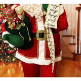 Fraser Hill Farm 5-Ft Life-Size Standing Santa Claus with Scroll, Wearing Red Velvet Suit with White Fur Trim, Indoor Decor