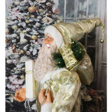 Fraser Hill Farm 5-Ft Life-Size Standing Santa Claus Holding a Gift and Wearing a Gold Brocade Robe with Fur Trim, Indoor Decor