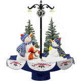 Fraser Hill Farm Let It Snow Series 29 Musical Snowman Family Scene with Blue Umbrella Base and Snow Function