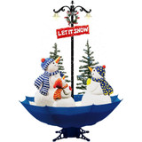 Fraser Hill Farm Let It Snow Series 67 Musical Snowman Family Scene with Blue Umbrella Base and Snow Function