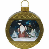 Fraser Hill Farm Let It Snow Series 24 Christmas Ornament Shadowbox in Gold with Santa Scene, Cascading Snow, and Holiday Music