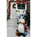 Fraser Hill Farm 5-Ft Life-Size Stacking Snowman Pair with Chalkboard with Long-Lasting LED Lights, Indoor or Outdoor