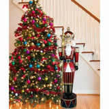 Fraser Hill Farm 6-Ft Life-Size Jeweled Nutcracker Greeter with Staff and 22 Long-Lasting LED Lights, Indoor or Outdoor