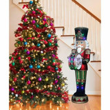 Fraser Hill Farm 6-Ft Life-Size Nutcracker Playing Bass Drum w/ Moving Hands, Music, Timer, and 32 LED Lights, Indoor or Outdoor