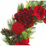 Fraser Hill Farm 28 Round Christmas Wreath Trimmed with Hydrangea, Amaryllis, Red Berry Balls and Pine Cones