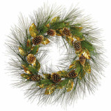 Fraser Hill Farm 36 Round Christmas Green Pine Wreath Trimmed with Gold Magnolia Leaves and Pine Cones