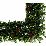Fraser Hill Farm 48 Evergreen Berry Green Prelit Oversized Square Wreath with Pinecones, Berries, and Warm White LED Lights