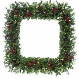 Fraser Hill Farm 36 Evergreen Berry Green Prelit Oversized Square Wreath with Pine Cones, Berries, and Warm White LED Lights