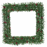 Fraser Hill Farm 48 Evergreen Berry Green Oversized Square Wreath with Pine Cones and Berries