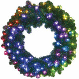 Fraser Hill Farm 36 Festive ALL-Season Holiday Decor Wreath with Multi-Color RGB LED Lights and LeaveUP Lites APP