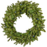 Fraser Hill Farm 48 Grandland Artificial Holiday Wreath with Multi-Colored Battery-Operated LED String Lights for Indoor and Outdoor Displays