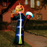 Haunted Hill Farm 10-Ft Halloween Inflatable Jack OLantern Reaper with Moving Head and Lights
