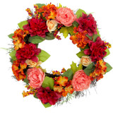Fraser Hill Farm 24 Fall Harvest Wreath Door Hanging with Dahlias and Peonies