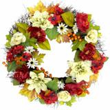 Fraser Hill Farm 24 Fall Harvest Wreath Door Hanging with Dahlias, Hydrangeas, and Peonies