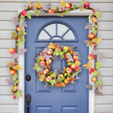 Fraser Hill Farm 24 Wreath and 9-ft Garland Fall Harvest Decor Set with Apples and Berries