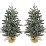 Fraser Hill Farm Heritage Pine Set of 2 Christmas Trees with Burlap Base, Various Sizes and Lighting Options