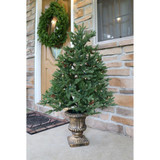 Fraser Hill Farm Noble Fir Set of 2 Christmas Trees with Metallic Urn Base, Various Sizes and Lighting Options