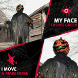 Haunted Hill Farm Premium Life-Size Animatronic Pumpkin Man with Light-Up Features and Moving Head