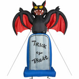 Haunted Hill Farm 10-Ft Halloween Inflatable Bat on a Tombstone with Lights