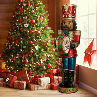 Fraser Hill Farm 5-Ft Nutcracker Playing Bass Drum w/ Moving Hands, Music, Timer, and 15 LED Lights