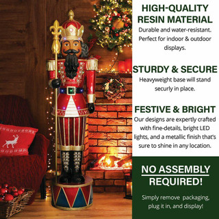 Fraser Hill Farm 6-Ft Jeweled African American Nutcracker Greeter with Staff and 22 LED Lights