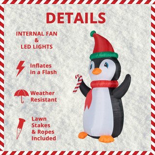 Fraser Hill Farm 10-Ft Tall Penguin with Candy Cane, Blow Up Inflatable with RGB Lights and Storage Bag