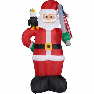 Fraser Hill Farm 8-Ft Tall Americana Santa with a Bald Eagle and American Flag, Blow Up Inflatable with Lights and Storage Bag