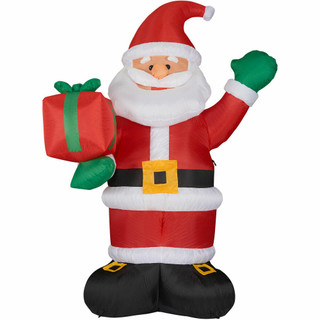 Fraser Hill Farm 10-Ft Tall Santa Claus Holding a Gift, Blow Up Inflatable with Lights and Storage Bag