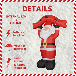 Fraser Hill Farm 10-Ft Tall Santa Holding HO HO HO Sign, Blow Up Inflatable with Lights and Storage Bag