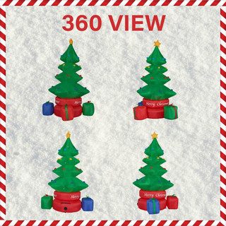 Fraser Hill Farm 6.5-Ft Tall Animated Rotating Christmas Tree with Gifts, Blow Up Inflatable with Lights and Storage Bag