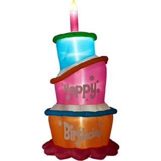 Fraser Hill Farm 12-Ft Tall Happy Birthday Cake with Faux Candle, Blow Up Inflatable with Lights and Storage Bag