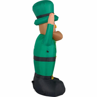 Fraser Hill Farm 10-Ft Tall St Patricks Day Lucky Leprechaun, Blow Up Inflatable with Lights and Storage Bag