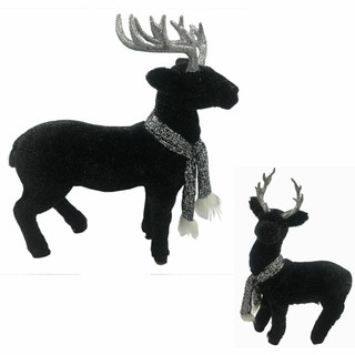 Fraser Hill Farm 2-Piece Black Deer Set with Glitter Scarves, 30-In and 18-In, Festive Indoor Christmas Decoration