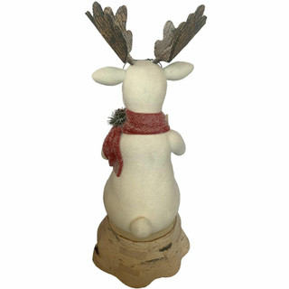 Fraser Hill Farm 32-In Mr Moose Reading on a Stump, Festive Indoor Christmas Decoration