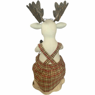 Fraser Hill Farm 32-In Mrs Moose Knitting on a Stump, Festive Indoor Christmas Decoration
