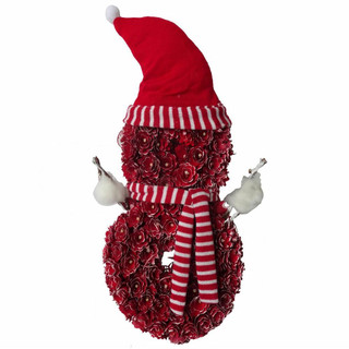 Fraser Hill Farm 25-In Snowman-Shaped Wreath with Hat and Striped Scarf, Festive Indoor Christmas Decoration, Red